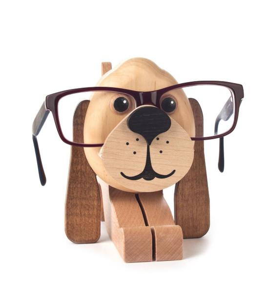 Tan Puppy Wooden Eyeglass Holder