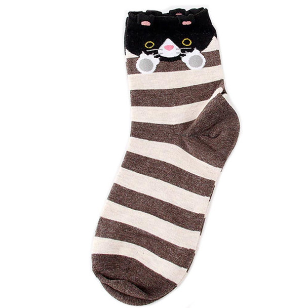 Brown striped Socks with Black Cat -  CC125