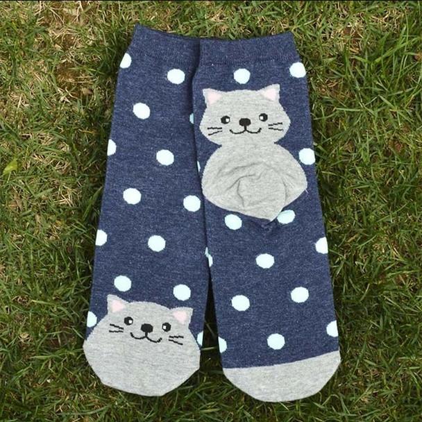 Gray Cat on Navy and Teal Polkadot Socks -  CC124