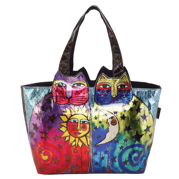 Laurel Burch Ancestral Cats Large Cutout Foil Shoulder Tote