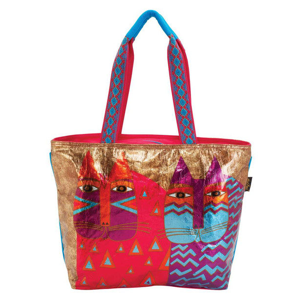 Laurel Burch Colorful Wild Cats Foil Cotton Shoulder Tote