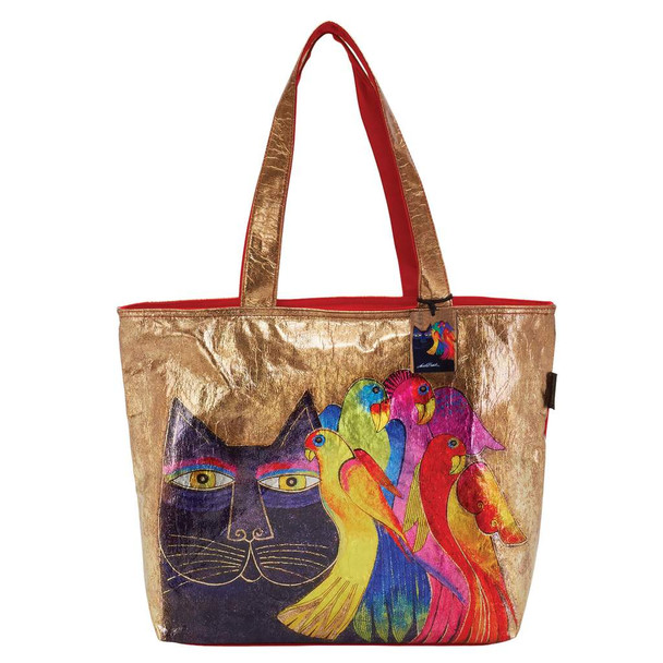Laurel Burch Ebony Cats and Birds Foil Cotton Shoulder Tote