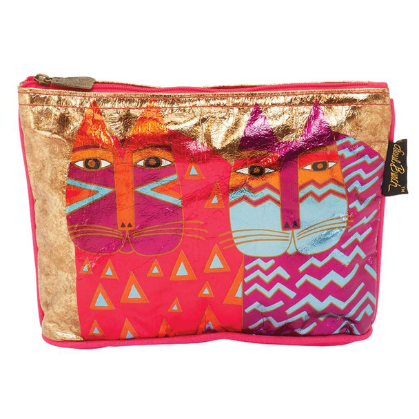 Laurel Burch Foil Cosmetic Bag Colorful Wild Cats