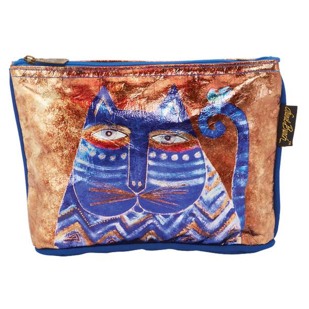 Laurel Burch Foil Cosmetic Bag Azul Cats LB5903G
