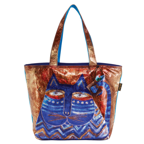 Laurel Burch Azul Cat Foil Cotton Shoulder Tote - LB6520