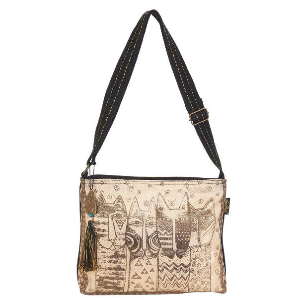 Laurel Burch Wild Cats Family Stamp Pattern Crossbody Tote