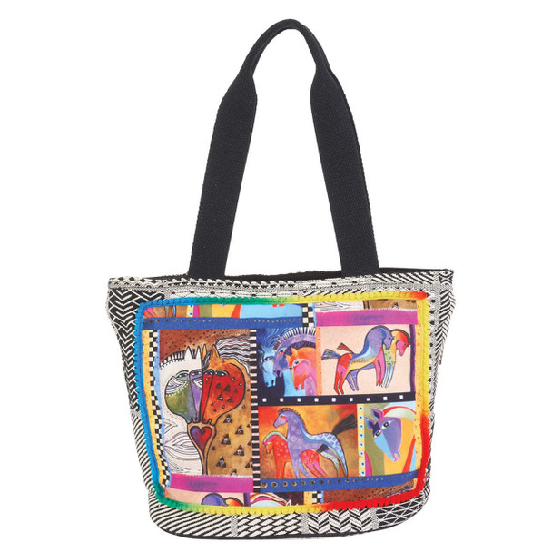 Laurel Burch Patchwork Horses Medium Shoulder Tote