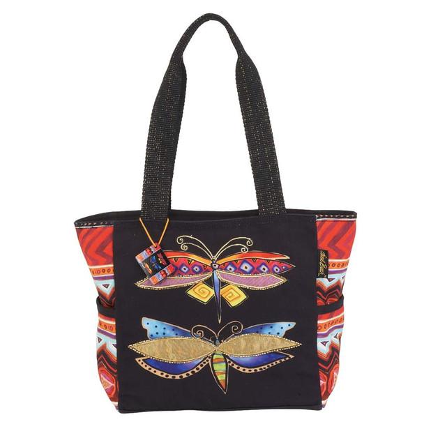 Laurel Burch Colorful Dragonflies Medium Shoulder Tote