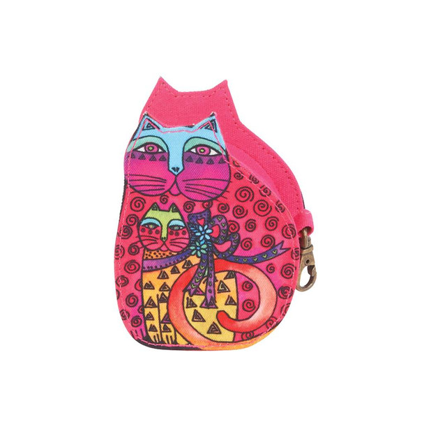 Laurel Burch Cutout Feline Clan Cat Change Purse - Pink