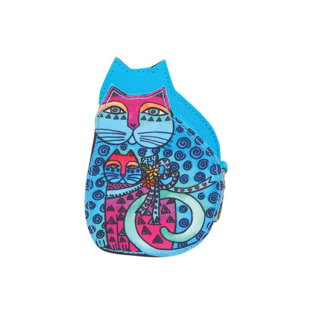 Laurel Burch Cutout Feline Clan Cat Change Purse - Blue