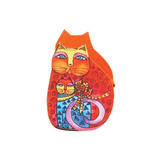 Laurel Burch Cutout Feline Clan Cat Change Purse - Orange