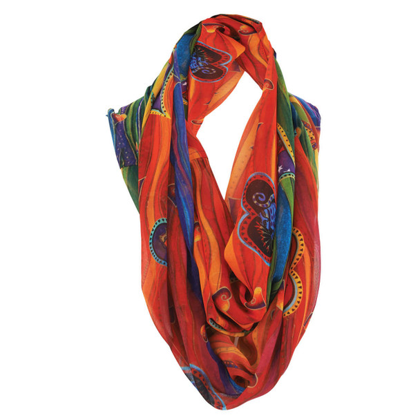 Laurel Burch Cat Heart Wave Artistic Infinity Scarf LBI216
