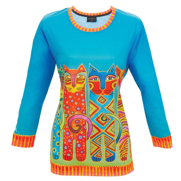 Laurel Burch 3/4 Sleeve Tee Shirt Feline Clan Cats