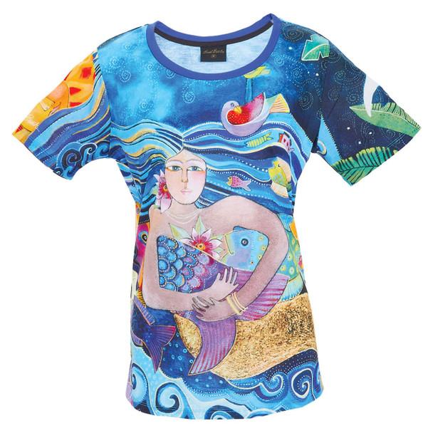 Laurel Burch Tee Shirt Ocean Mermaid LBT057