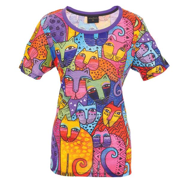 Laurel Burch Tee Shirt Whiskered Family Cats LBT059