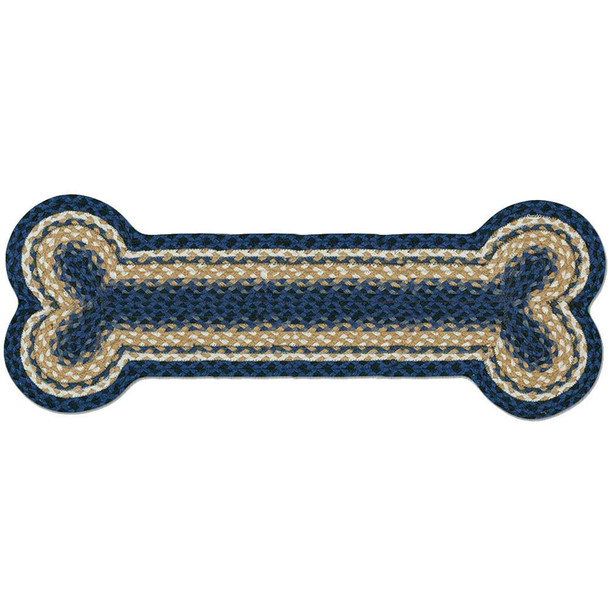 Blues Mustard Ivory Braided Jute Dog Bone 9x24 Rug DB-079-9