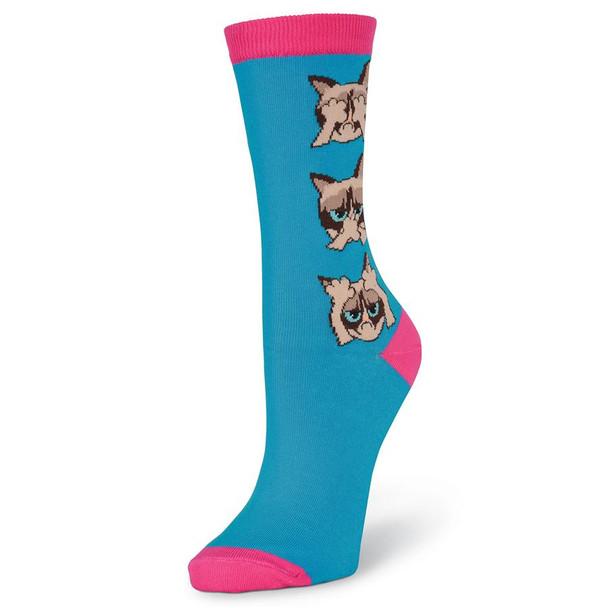 Women's Grumpy Cat Hear, Speak, See No Grumpy Turquoise Crew Socks - GCWF17H002