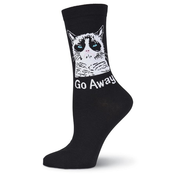 Women's Grumpy Cat Go Away Crew Socks - GCWG15H001