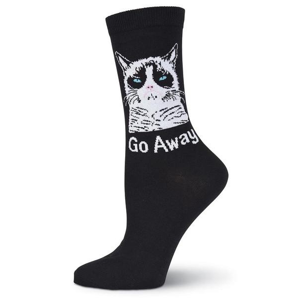Women's Grumpy Cat Go Away Crew Socks - GCWG15H001