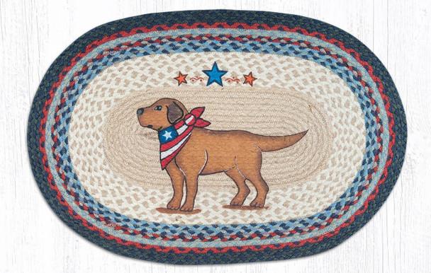 Patriotic Dog Hand Printed Oval Braided Floor Earth Rug 20x30 - OP-015