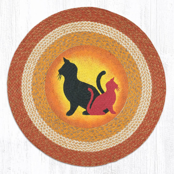 """Sunrise Sunset Cats Hand Printed Round Braided Floor Earth Rug 27"""" - RP-9-101"""