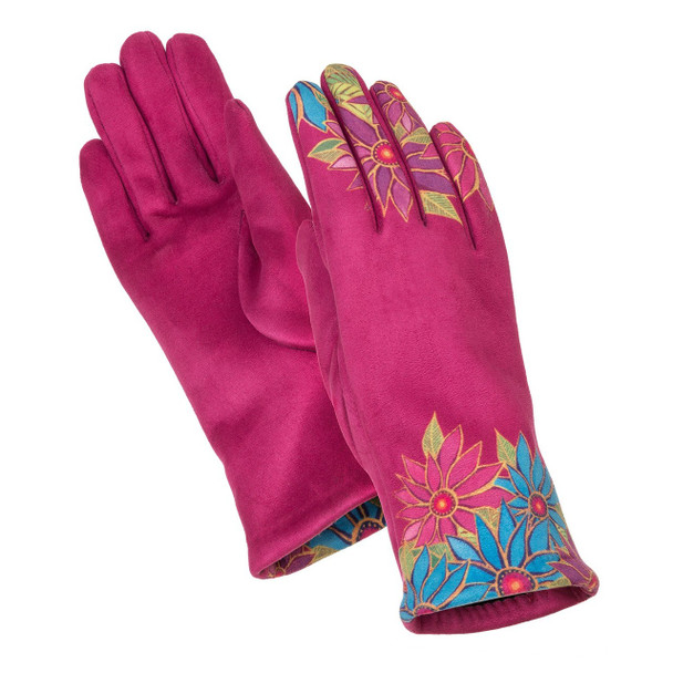 Fuchsia Floral Printed Suede Gloves