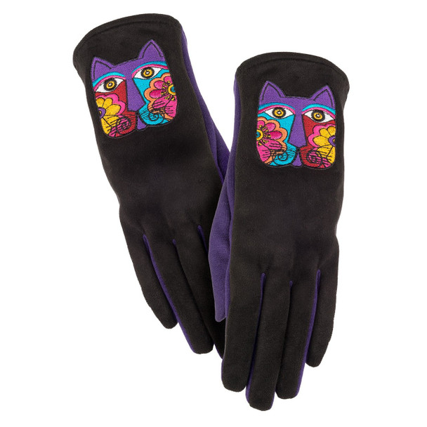 Black and purple gloves featuring a floral cat