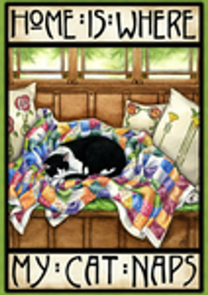 Home is Where My Cat Naps Garden Flag - 1112313