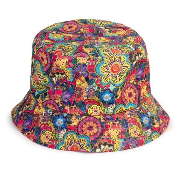 Laurel Burch Felines Garden Reversible Bucket Hat