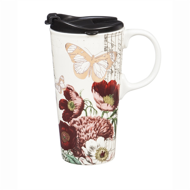 Butterfly Botanical Gardens with Metallic Accents - Ceramic Travel Cup - 3CTC6574L