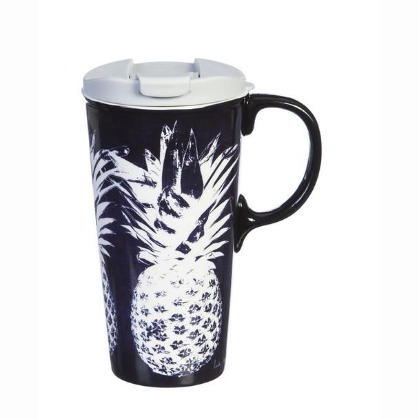 White Pineapple - Dark Navy Ceramic Travel Cup - 17oz 3CTC5862L