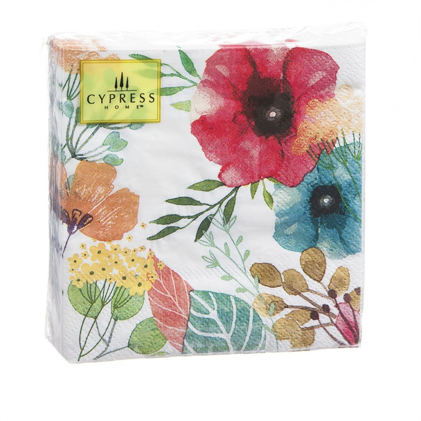 Colorful Watercolor Poppies - 40ct. 3ply Cocktail Napkin