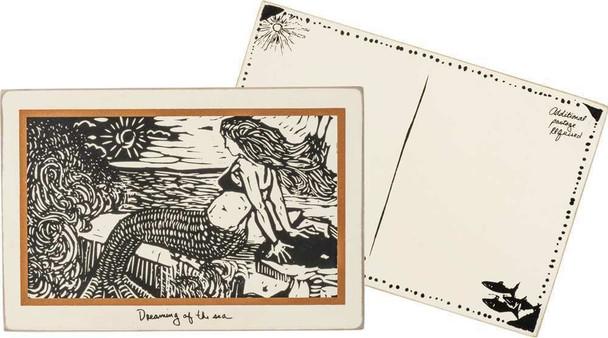 Dreaming Mermaid Wooden Postcard