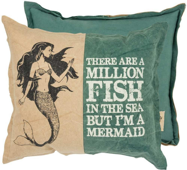 Two Toned Throw Pillow - Million Fish In The Sea But I'm A Mermaid