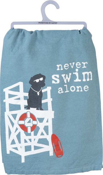Black Lab Dish Towel - Never Swim Alone - 39162