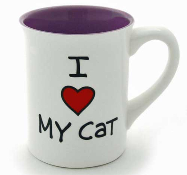 "Cat Theme Stoneware Mug ""I Heart My Cat"" 4033465"