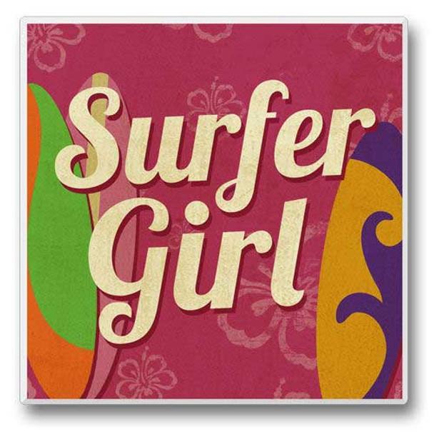 Surfer Girl - Single Absorbent Coaster - 02-193