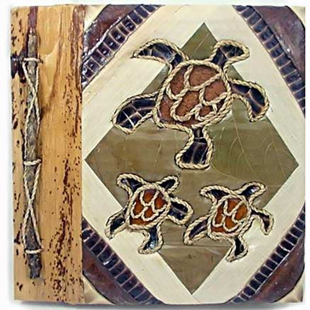 "Three Turtles Photo Album 7"" x 7"" Handcrafted Tropical Leaf 101TT 1371-2-550"