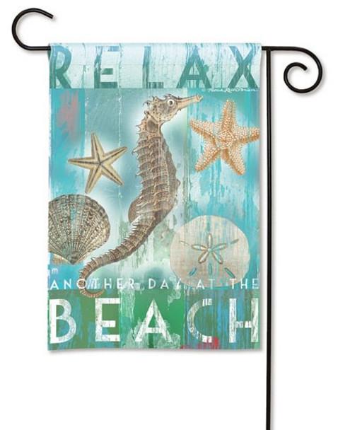 "Seahorse Theme Garden Flag ""Relax at the Beach"" 32335D"