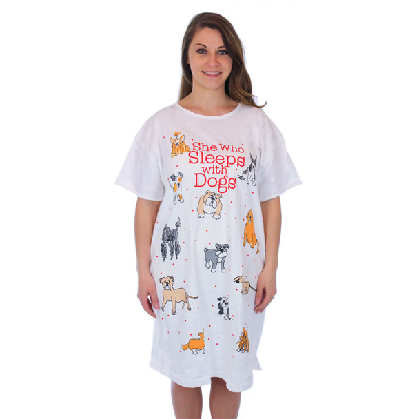 "Sleep Shirt Pajamas ""She who sleeps with dogs"" 00627T"