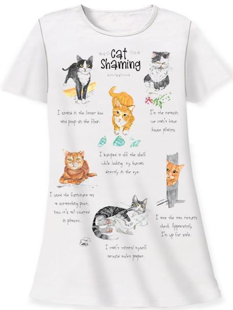 Cat Theme Sleep Shirt Pajamas - Cat Shaming Mischief - 377OT