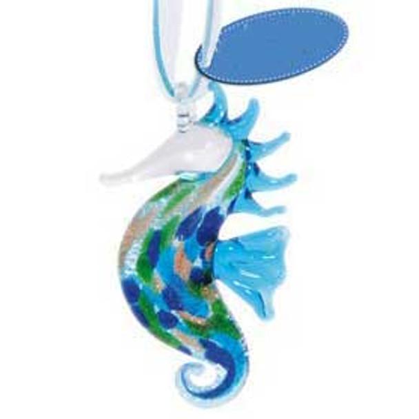 Glass Ornament Sea Horse 859-14