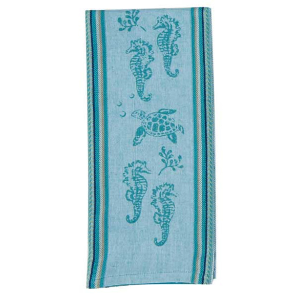 Sea Turtle and Seahorse Printed Woven Tea Towel R2810