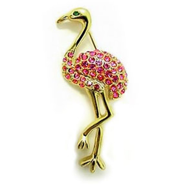 Pink Flamingo Pin Goldtone with Rhinestones - RSP2315