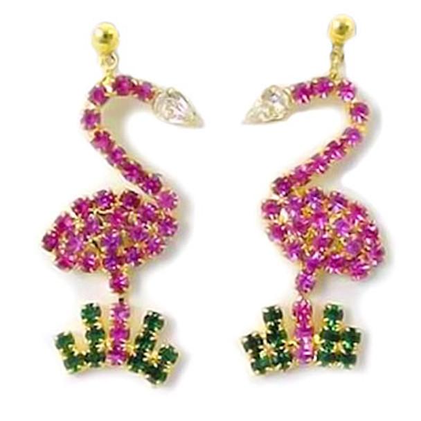 Pink Flamingo Post Dangle Earrings with Rhinestones Goldtone - RSPE2586-C
