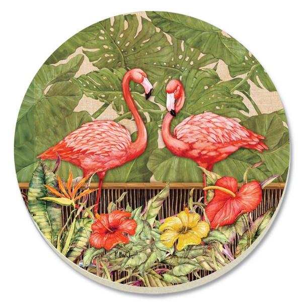 Pink Flamingo Garden Stone Coasters - Set of 4 - 13595