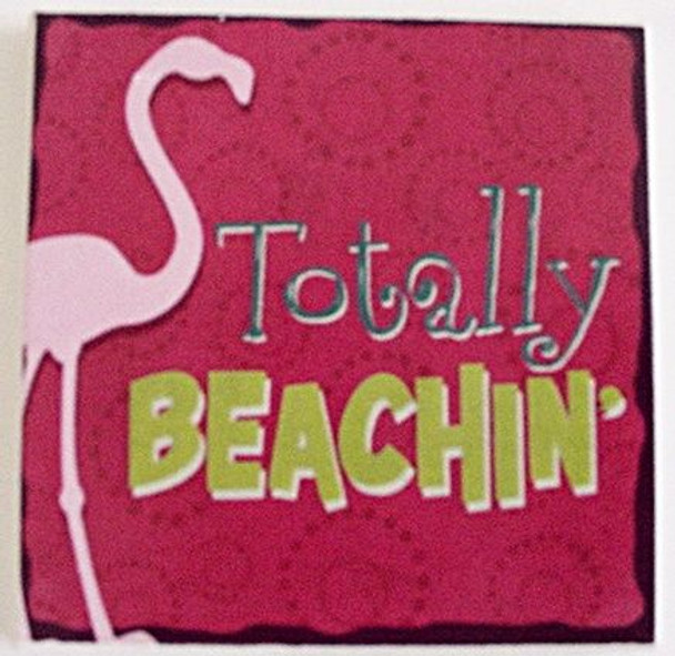 "Beach Single Absorbent Coaster ""Totally Beachin'""- 02-195"