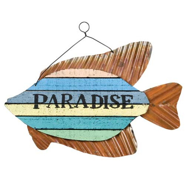 "Colorful Fish Sign - ""Paradise"" - 70147P"