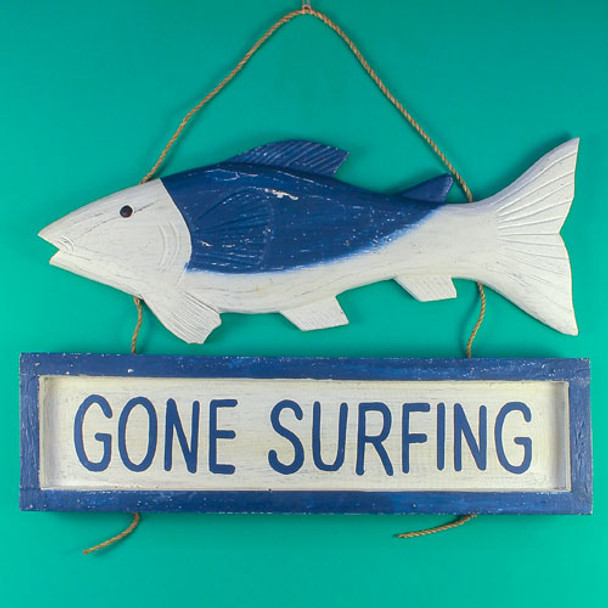 Gone Surfing Fish Sign - Carved Painted Wood - 438-2-575