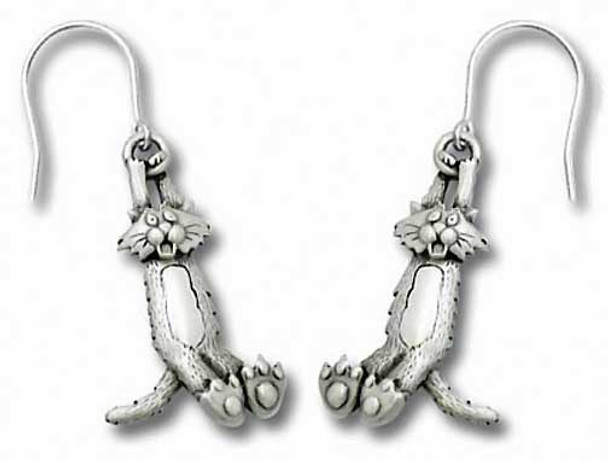 Crazy Swinging Cat Pewter Drop Earrings 1073/2EFP